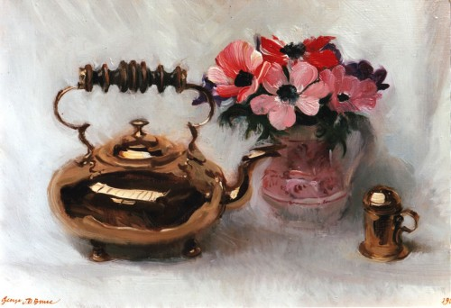 Brass Kettle, and Flowers