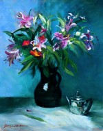 12. Lilies in Brown Jug with Bachelor Teapot