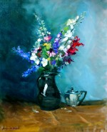 48. Flowers in a Brown Jug with Silver Teapot